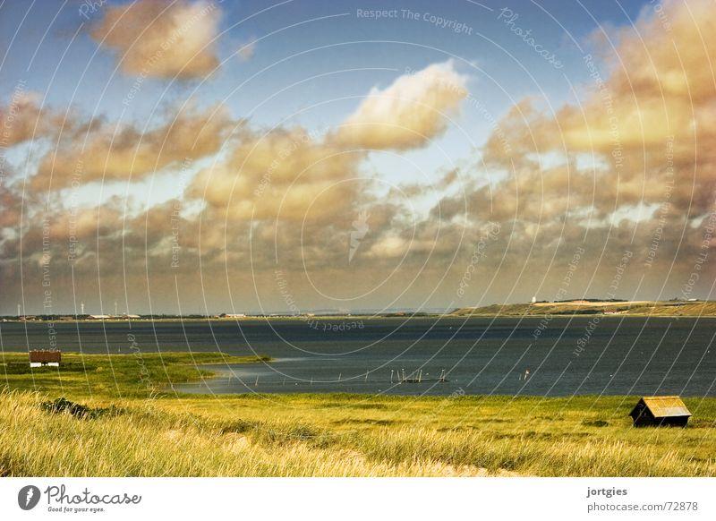 Gleich hinterm Deich Wasser Sonne Meer Strand Wolken Einsamkeit Küste Hütte Ödland Dänemark Fischereiwirtschaft Fischer Skandinavien Deich