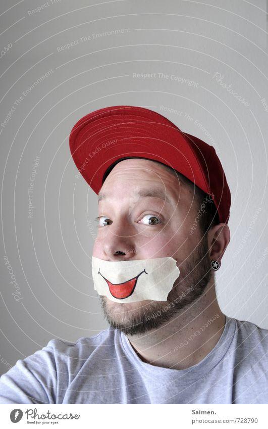 montage sind einfach super Mensch maskulin Mann Erwachsene Kopf 1 18-30 Jahre Jugendliche Mütze Bart Lächeln außergewöhnlich Freundlichkeit frisch positiv