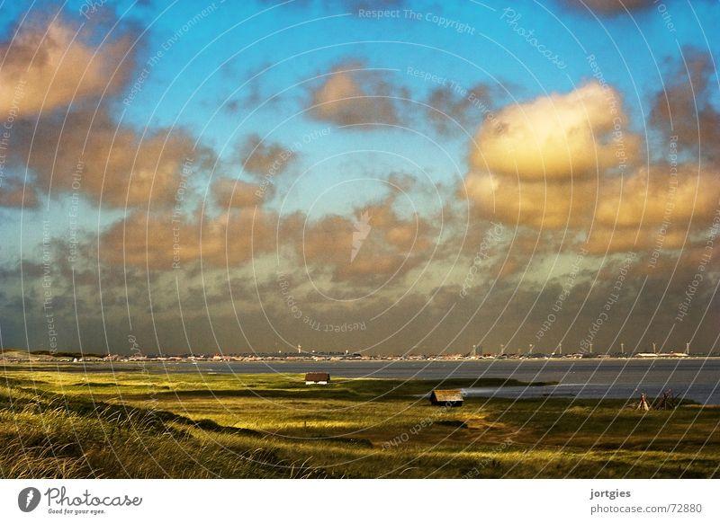 Gleich hinterm Deich #2 Skandinavien Dänemark Ödland Einsamkeit Meer Wasser Küste Abend Sonne Wolken Hütte Fischer Fischereiwirtschaft Strand