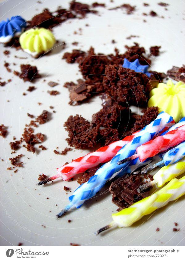 party Kerze Kuchen Rest Krümel vergangen Vergänglichkeit Torte Geburtstag Feste & Feiern