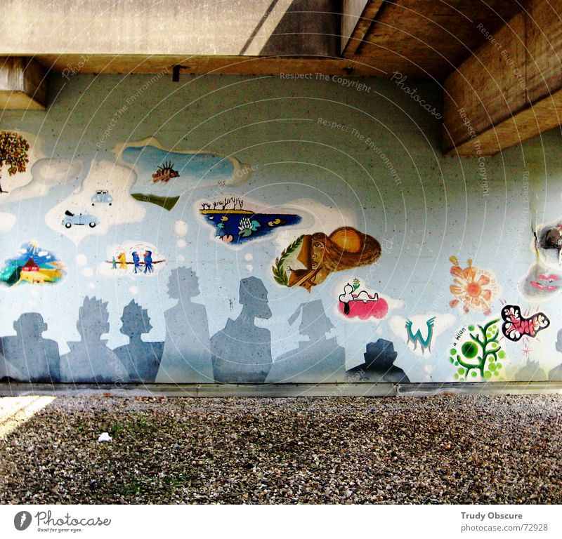 storytelling Wand Mauer Beton Material Gemälde Muster planen Kunstwerk mehrfarbig Gedanke Verständnis entdecken Blick Sinnestäuschung fiktiv Schutz Zeichnung