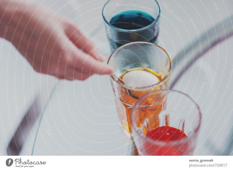 Eier färben Lebensmittel Ernährung Design Freizeit & Hobby Spielen Feste & Feiern Ostern ästhetisch mehrfarbig Osterei gelb rot blau Lebensmittelfarbe Glas