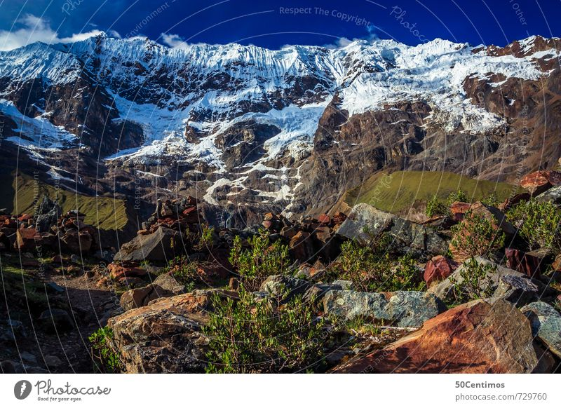 glacier in Peru Himmel Natur Ferien & Urlaub & Reisen Landschaft ruhig Ferne Berge u. Gebirge Schnee Wiese Freiheit Zeit Felsen Erde Tourismus wandern Ausflug