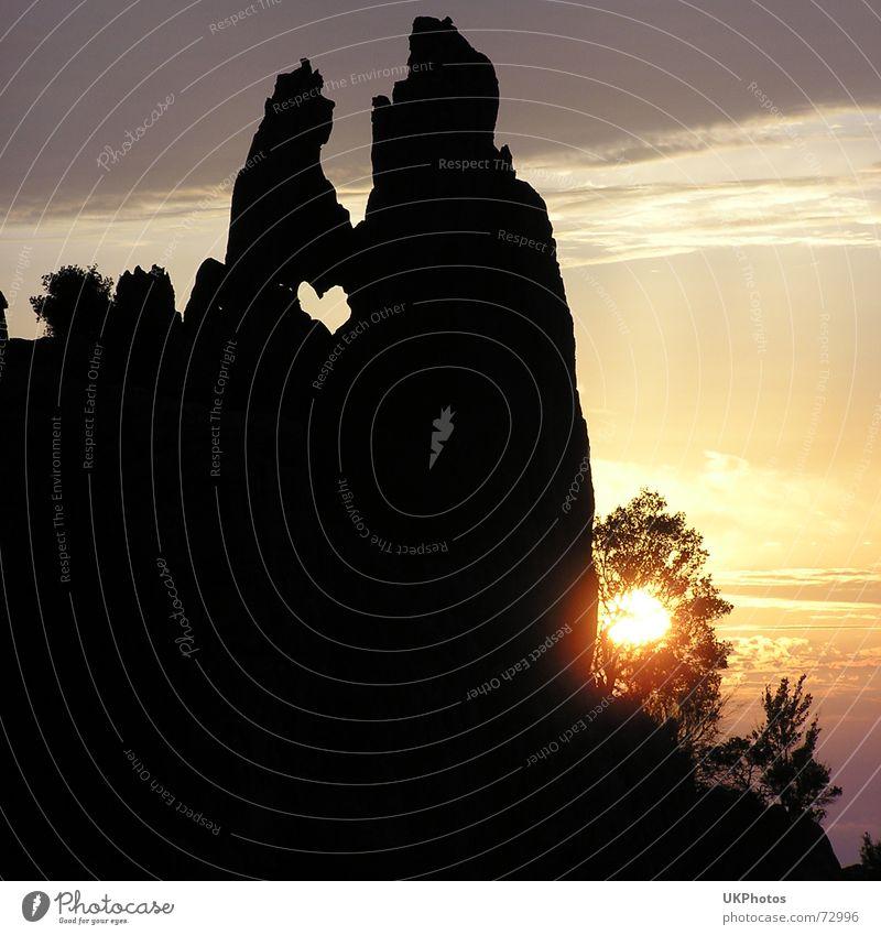 Felsenherz Sonne Meer Liebe Herz Abenddämmerung Süden Symbole & Metaphern Korsika