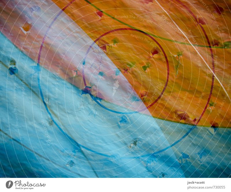 Zielscheibe 10 Bogensport Treffer Zielkreuz Loch Papier Linie Kreis rund blau orange Konzentration Mittelpunkt Doppelbelichtung überlagert