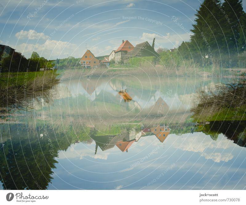 Heimat doppelt gemoppelt Kulturlandschaft Natur Himmel Wolken Frühling Schönes Wetter Baum Teich Franken Dorf fantastisch oben Idylle Rätsel Irritation