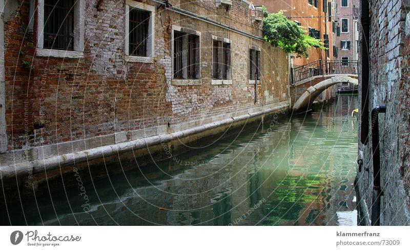 Kanal in Venedig Wasser alt ruhig Haus Fenster Architektur Mauer Brücke Romantik Italien historisch eng mediterran Hausmauer