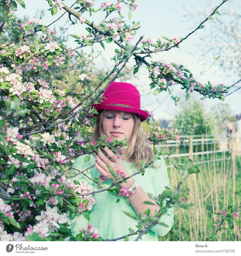 Pink im Quadrat Mädchen Junge Frau Jugendliche Leben 1 Mensch 13-18 Jahre Kind Frühling Schönes Wetter Baum Gras Blüte Garten Wiese T-Shirt Accessoire Hut blond