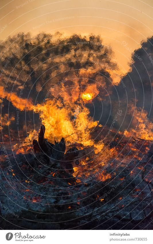 Osterfeuer Natur Feuer Sonne Sonnenaufgang Sonnenuntergang Sonnenlicht Frühling Schönes Wetter Feste & Feiern Farbfoto Außenaufnahme abstrakt Menschenleer Tag