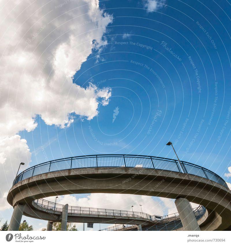 Kreisverkehr Himmel Stadt Sommer Wolken Wege & Pfade Architektur Stil Design modern Perspektive Schönes Wetter Brücke rund Güterverkehr & Logistik Bauwerk