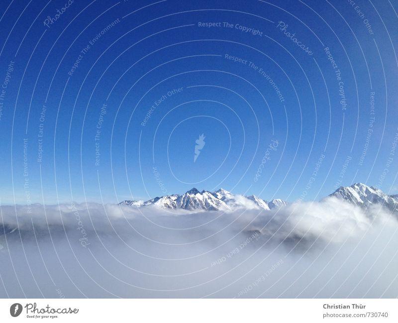 Alpenglühen Himmel Natur blau weiß Einsamkeit Erholung Landschaft Winter kalt Umwelt Berge u. Gebirge Gefühle Schnee Sport grau Glück