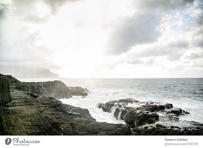 wild ocean Natur Landschaft Wasser Wolken Sonnenaufgang Sonnenuntergang Sommer Schönes Wetter Berge u. Gebirge Wellen Küste Bucht Meer Insel Pazifik Queens bath