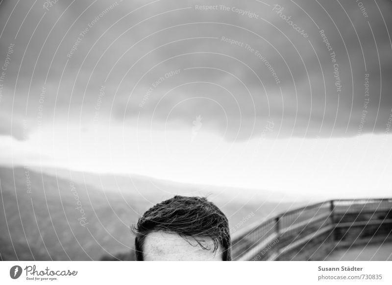 gedankenfrei Mensch Jugendliche Mann Wolken 18-30 Jahre Erwachsene Haare & Frisuren Kopf maskulin brünett kurzhaarig Stirn Hawaii Aussichtsturm Haaransatz