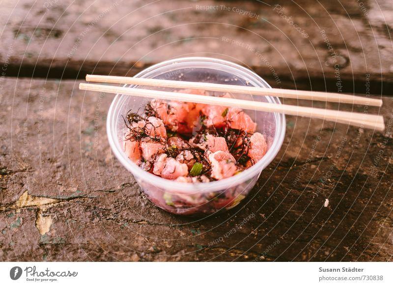 ahi poke Fisch Meeresfrüchte Ernährung Mittagessen Vegetarische Ernährung Slowfood Sushi Asiatische Küche Schalen & Schüsseln Besteck frisch Gesundheit
