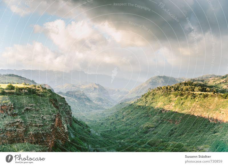 waimea valley Landschaft Wolken Wald authentisch Schönes Wetter Schlucht tropisch Hawaii Kauai Waimea Canyon