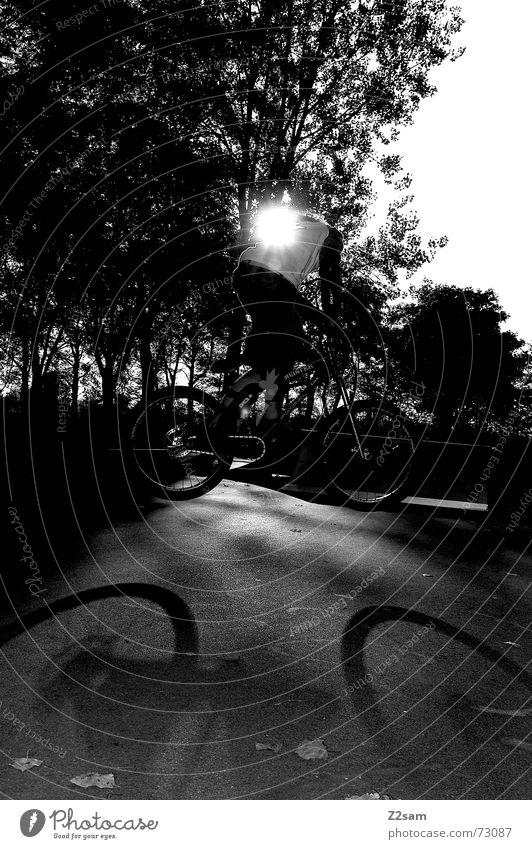 bunny hop in the sun springen Aktion Stil Park Sport Zufriedenheit 2 Fahrrad BMX Schatten Sonne Funsport control two