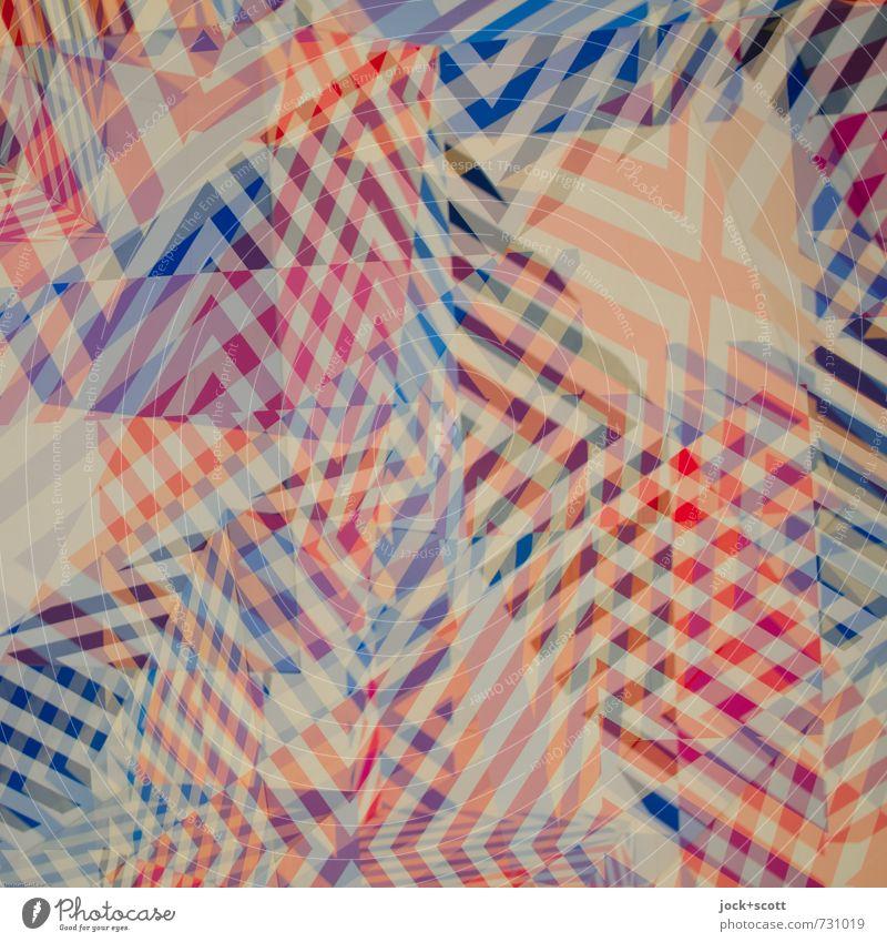 Tohuwabohu Design Grafik u. Illustration Linie Streifen kariert eckig fantastisch modern verrückt blau rot Nervosität verstört unbeständig anstrengen chaotisch
