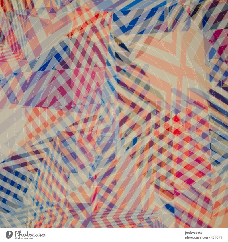 Tohuwabohu Stil Design Grafik u. Illustration Ornament Linie Streifen kariert eckig fantastisch modern verrückt blau rot Stimmung Nervosität verstört