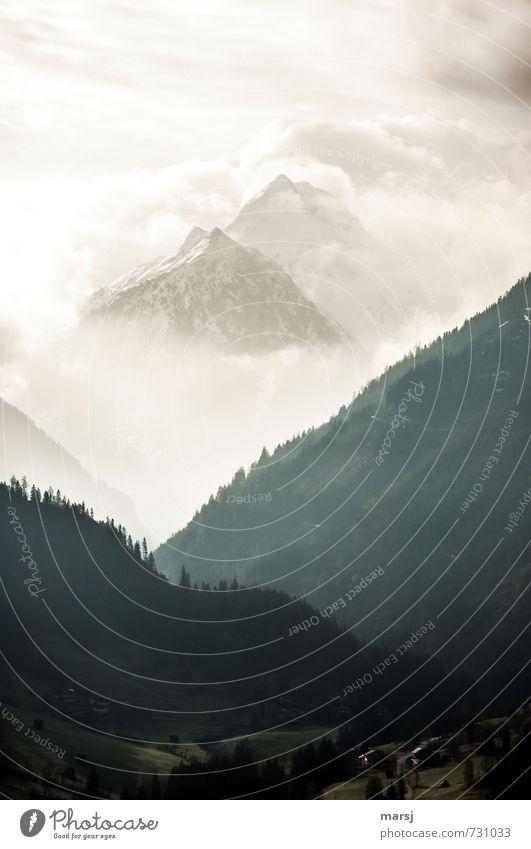 geheimnisvoll | Bergwelt Himmel Sommer Einsamkeit Wolken dunkel Wald Berge u. Gebirge Traurigkeit Frühling außergewöhnlich Felsen Stimmung träumen