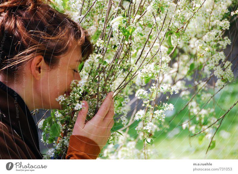 to breath it all in Mensch Natur Jugendliche Pflanze Junge Frau Blume 18-30 Jahre Erwachsene Gesicht Umwelt Leben feminin Frühling Blüte Haare & Frisuren Kopf