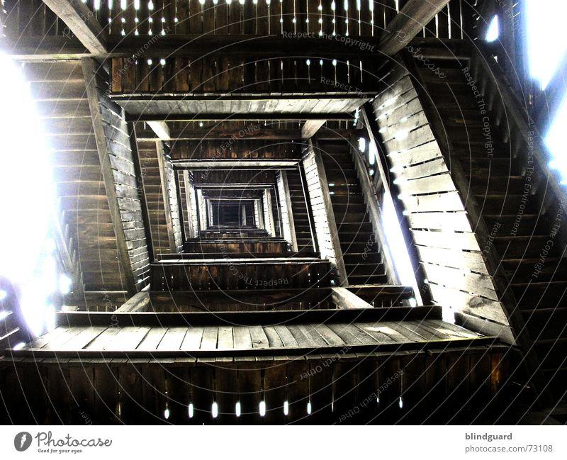 196 Steps To Heaven ... Holz Beleuchtung Treppe hoch Baustelle Turm Aussicht tief Konstruktion Frankfurt am Main anstrengen Schraube Kiefer Eiche Buche