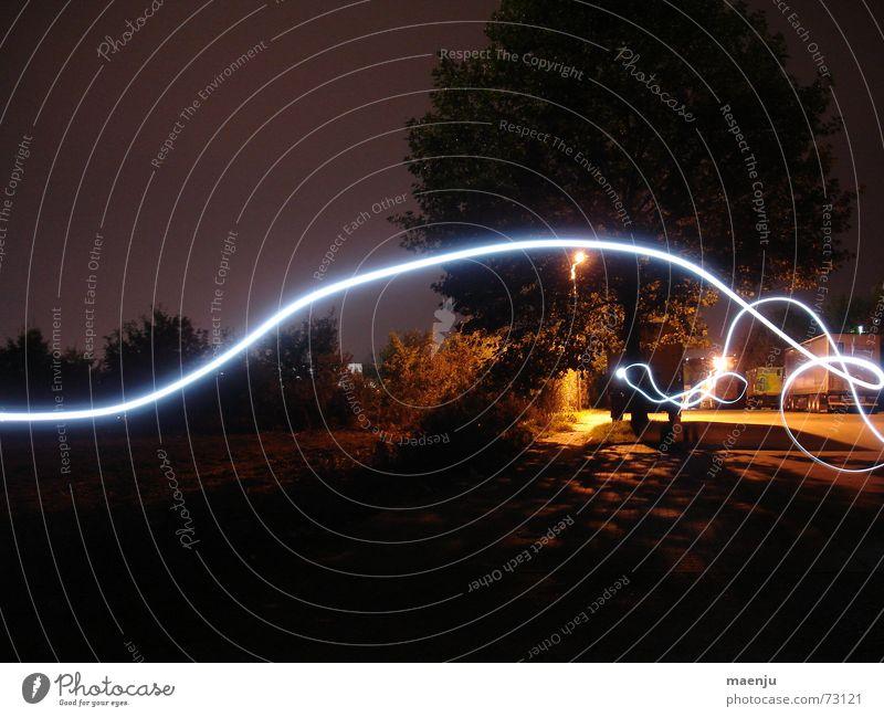 fiat lux Licht Nacht Leben Spielen schwungvoll Baum Lichtstrahl Straße