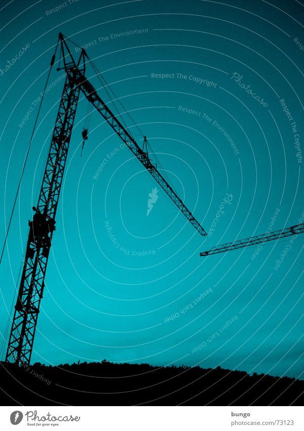 Kranenliebe Himmel blau Erholung ruhig Ferne dunkel schwarz oben Linie Metall Arbeit & Erwerbstätigkeit 2 Verkehr groß hoch Industrie