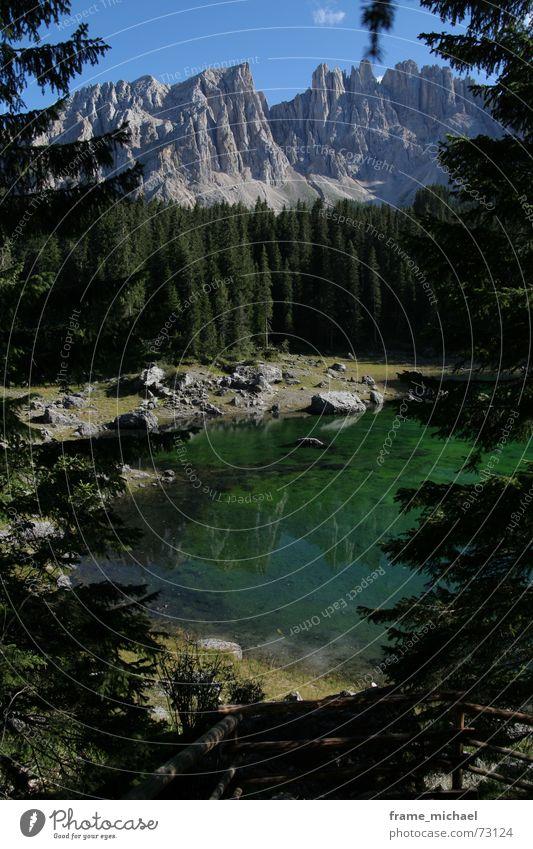 Karersee ruhig Berge u. Gebirge See Klarheit Idylle Nachmittag Nadelbaum Dolomiten