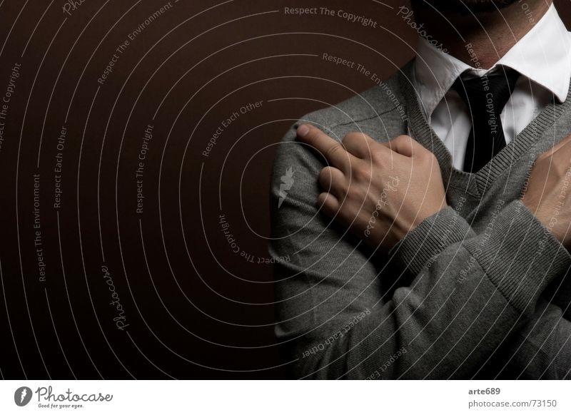 Give a fuck - aber bitte mit Stil weiß schwarz Business Hemd Pullover Krawatte Anschnitt Mittelfinger Stinkefinger