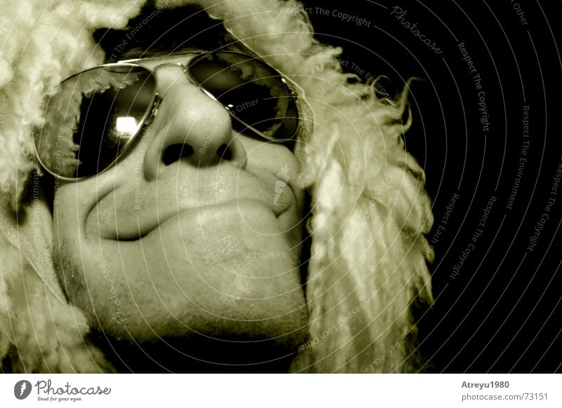 volles haar Glück Haare & Frisuren Zufriedenheit verrückt Brille Fell grinsen Schaf Freak