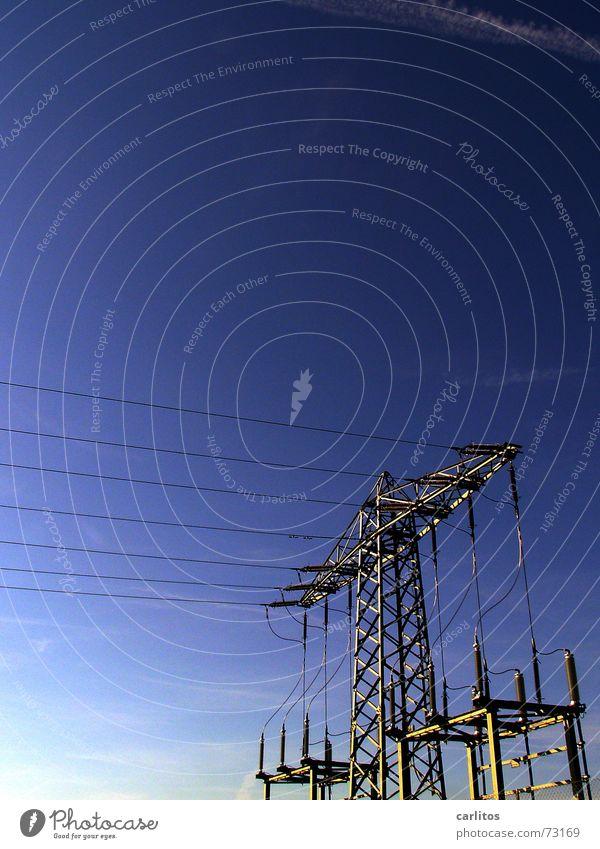 hoch spannend Elektrizität Oberleitung Isolatoren Strommast Kabel blau Energiewirtschaft Kraft Leistung peter lustig