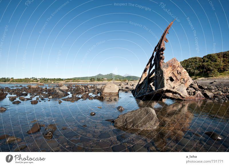 shipwreckbay Natur Ferien & Urlaub & Reisen alt Sommer Wasser Meer Landschaft Ferne Strand Berge u. Gebirge Umwelt Küste Sand Vergänglichkeit Schönes Wetter