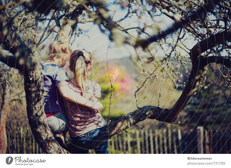 another day in paradise Mensch Kind Natur blau grün Pflanze Baum Erholung Mädchen feminin Frühling Spielen Glück Garten rosa träumen