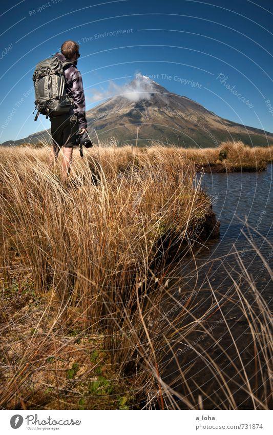 To Be Alone With You Lifestyle Berge u. Gebirge wandern Mensch maskulin Mann Erwachsene 1 Natur Landschaft Pflanze Urelemente Erde Wasser Himmel Horizont Sommer