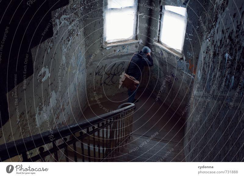 HALLE/S TOUR | Detailaufnahme Mensch Mann Einsamkeit Haus Erwachsene Wand Wege & Pfade Architektur Mauer Zeit Treppe Fotografie Vergänglichkeit einzigartig
