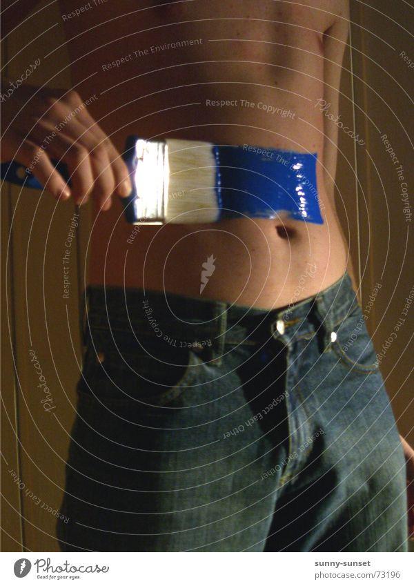 *bauchpinseln* blau Bauch Körpermalerei Pinsel Bauchnabel Jeanshose Farbe Farbstoff Farben und Lacke Handwerk