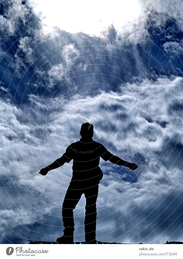 Aber jetzt heb ich ab, oder auch nicht... Himmel Mann blau Sonne Freude Wolken Berge u. Gebirge laufen Beginn Klettern Fallschirm Bergsteigen Gleitschirmfliegen