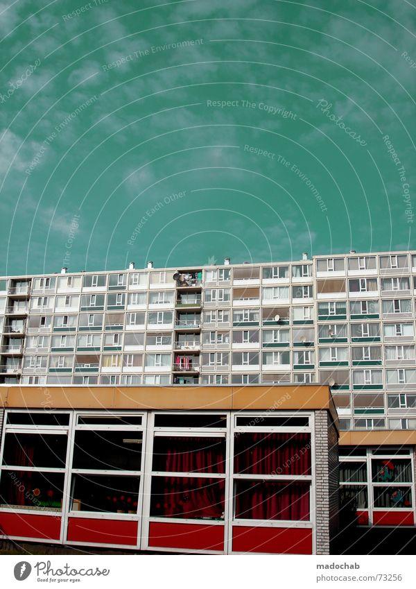 DUTCH URBANISM Himmel Stadt blau Farbe rot Wolken Haus Fenster gelb Leben Architektur Gebäude Freiheit fliegen braun oben