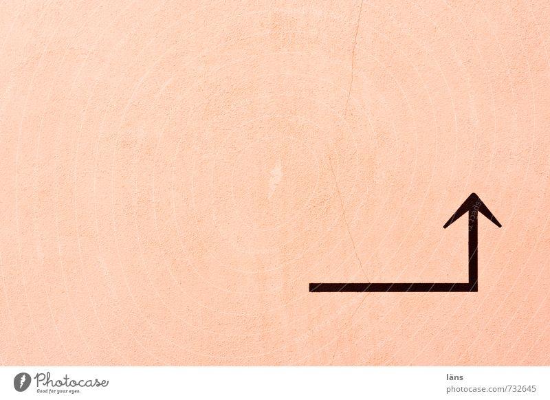 Richtungswechsel Wand Pfeil Hinweis rosa Ecke