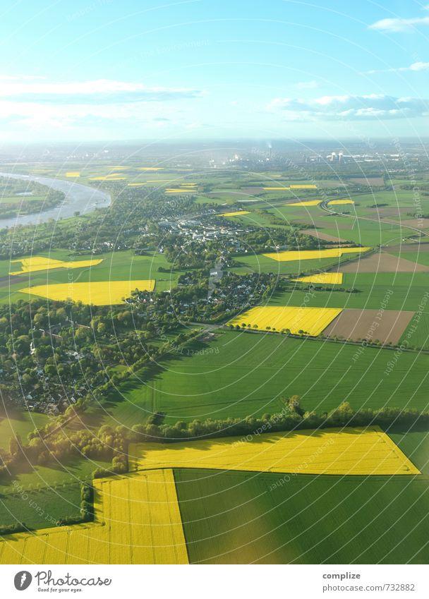 Deutsche Rapsfelder Ferien & Urlaub & Reisen Tourismus Sommer Erneuerbare Energie Sonnenenergie Energiekrise Luftverkehr Umwelt Natur Landschaft Urelemente Erde