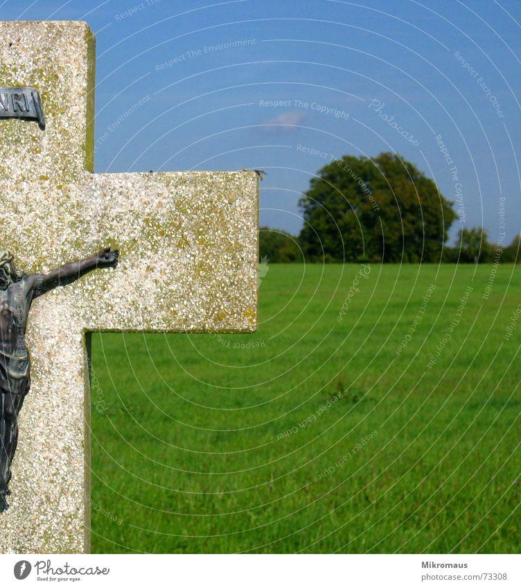 crux Gewicht Kreuz Kruzifix Christliches Kreuz Jesus Christus Christentum Aufschrift Friedhof Wiese Sommer Himmel blau grün heilig Religion & Glaube Trauer