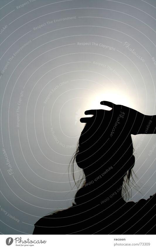 Silhouette heiß schwarz weiß Grauwert Hand Frau Sonne Schatten Mensch Haare & Frisuren Natur Außenaufnahme