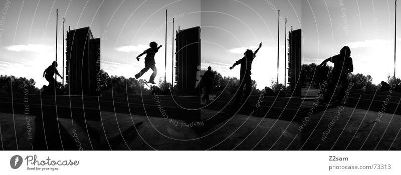 kickflip s/w stich Kickflip Salto Trick Stunt springen Aktion Sport Stil Skateboarding Licht Reihe Dynamik Funsport street Parkdeck siluette Treppe Schatten