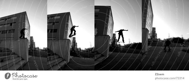 little man/big drop stich Skateboarding springen Aktion Trick Graf-Adolf-Platz Mauer Sport Stil Lifestyle Parkdeck ollie hoch fliegen Funsport Dynamik Bewegung