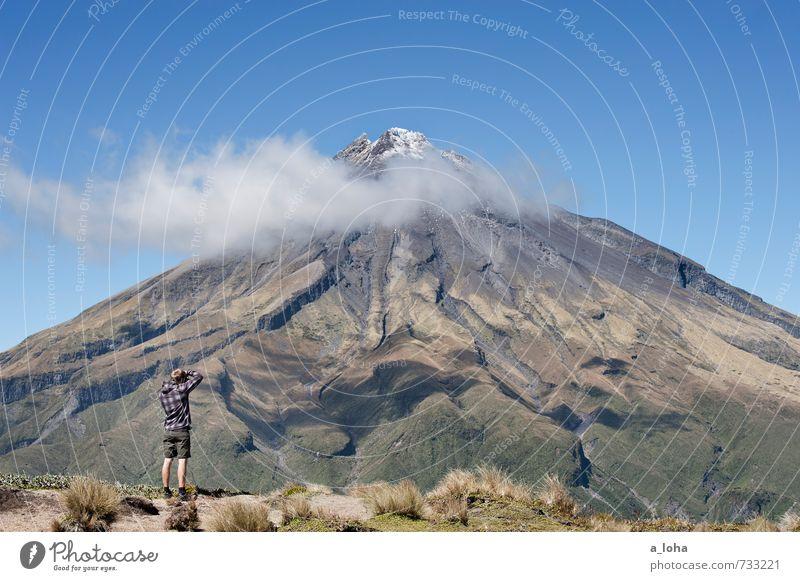 so gross und doch so klein Mensch Himmel Natur Ferien & Urlaub & Reisen Mann Pflanze Einsamkeit Landschaft Wolken Ferne Erwachsene Umwelt Berge u. Gebirge