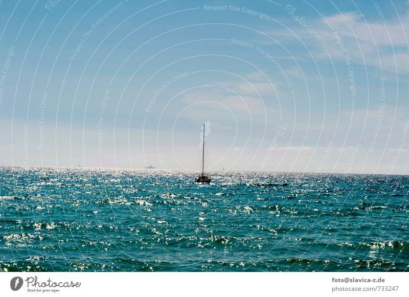 Boot und Meer, Frankreich Himmel Natur Ferien & Urlaub & Reisen Farbe Wasser Sommer Sonne Landschaft Ferne Strand Umwelt Freiheit Horizont Freizeit & Hobby