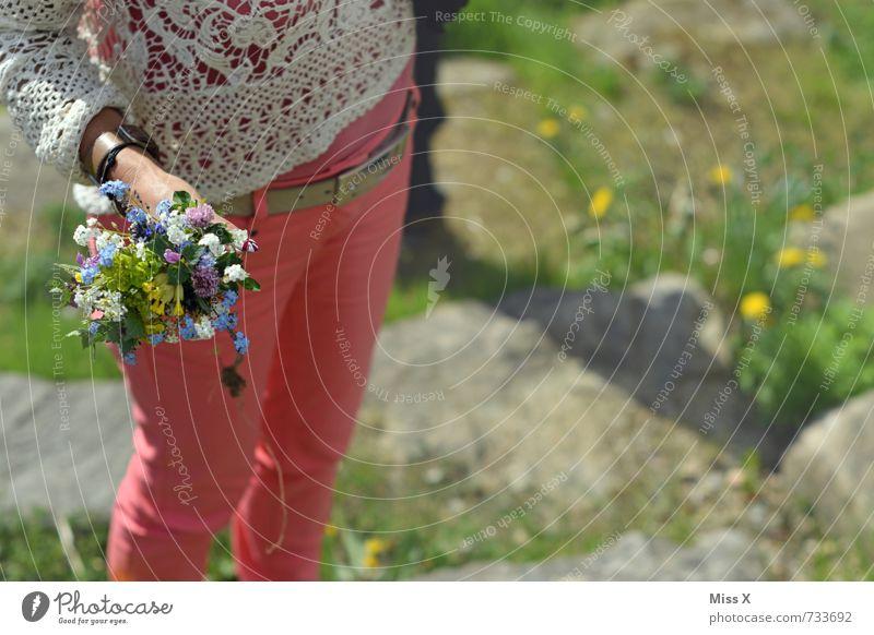 Blümchen Mensch Jugendliche Junge Frau Blume Gefühle Liebe feminin Frühling Blüte Stimmung Geburtstag Blühend Romantik Hose Blumenstrauß Verliebtheit