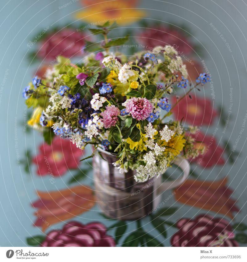 Wiesenblumenstrauß Pflanze Sommer Blume Frühling Blüte Stimmung Tisch Blühend Romantik Blumenstrauß Verliebtheit Duft ländlich bemalt Ornament Becher