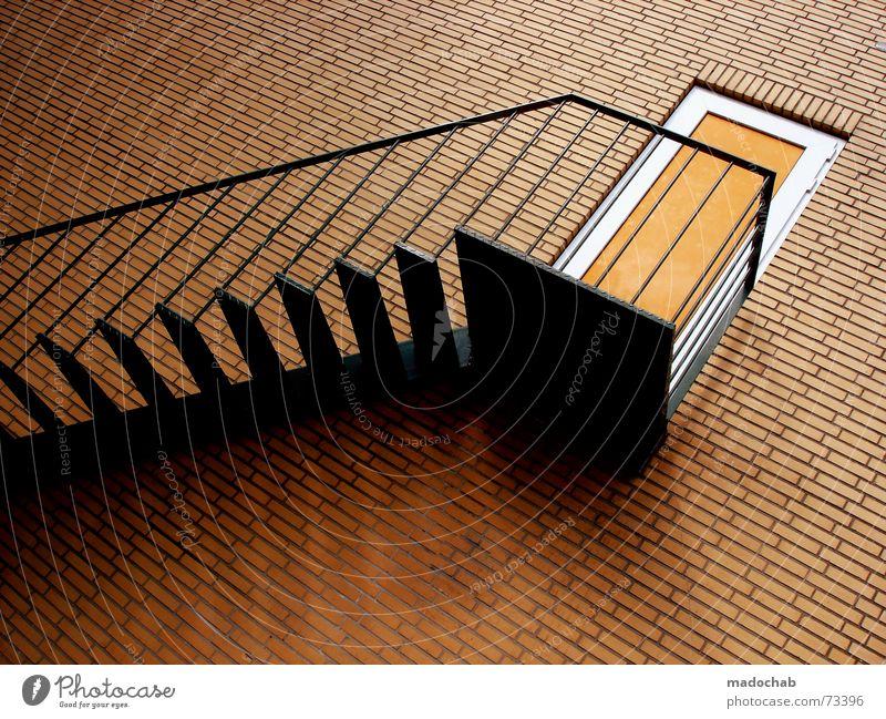 BEEN THERE - DONE THIS | treppe mauer exit ausgang stairs Mauer orange Tür hoch verrückt Perspektive Treppe Fliesen u. Kacheln Backstein Grafik u. Illustration aufwärts Geländer falsch abwärts