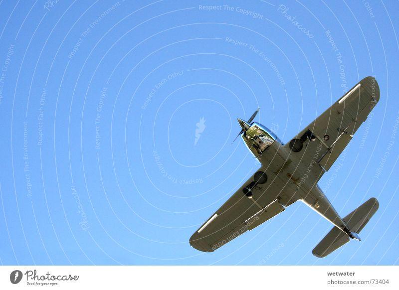 Silver plane Himmel blau Ferien & Urlaub & Reisen Freiheit Flugzeug fliegen Geschwindigkeit Flügel tief silber Oldtimer Abdeckung Propeller